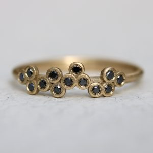 14k gold black diamonds ring