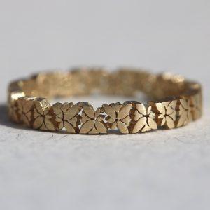 טבעת זהב אורנמנט פרפרים