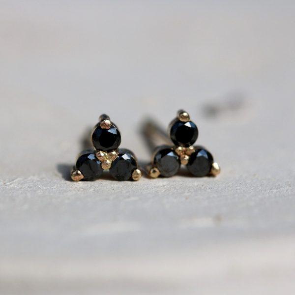 עגילי שלישיות יהלומים