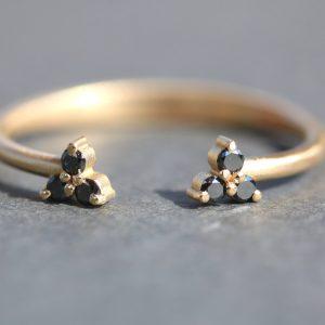 טבעת פתוחה יהלומים שחורים